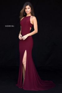 Dark Wine Sherri Hill 51947 Halter Long Prom Dress