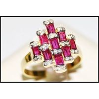 18K Yellow Gold For Men Ruby Red and Diamond Ring [RF0011]