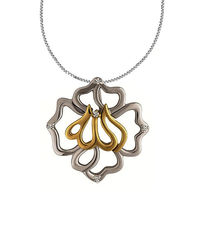 REAL DIAMOND 925 STERLING SILVER EID PENDANT WITH SILVER CHAIN