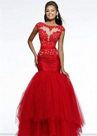 Lace Long Red High Neck Mermaid Prom Dresses 2015 For Sale