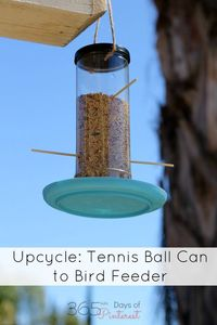 Turn an old tennis ball can into a bird feeder. Fun kids project and great way to recycle! #BringingInnovation #ad #upcycle