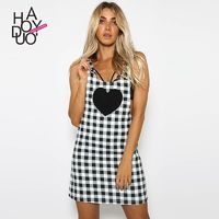 Vogue Open Back Printed Heart-shape Lattice Summer Strappy Top Dress - Bonny YZOZO Boutique Store
