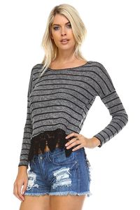 Women's Long Sleeve Stripe Hatchi Top with Crochet $27.60