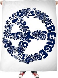 Blue Peace Fleece Blanket $65.00