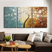 Tree Painting acrylic painting 3piece flower knife painting Wall Art Pictures for living room Home Decor Original painted caudros decoracion $163.53