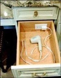 electric outlet in bathroom drawer - wow! - Click image to find more Home Decor Pinterest pins