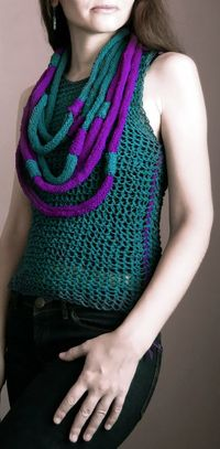 Knitted Tank Teal Fuchsia / Knit Vest / by magdamagdaFashion, $32.00