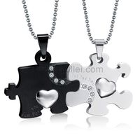 Engraved Relationship Interlocking Couples Pendants Necklaces for 2 by Gullei.com