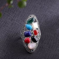925 Silver Inlay Ring / Colorful Stone Ladies Ring / Vintage Bohemian Ring / Open Ring / Statement Rings / South Red Agate Ring / Party Ring Ask a question