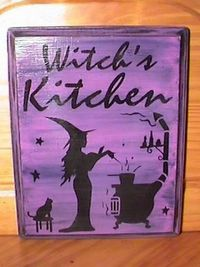 primitive Witches Kitchen Witch Sign Handpainted Plaque Witchcraft Folk Art Halloween  Witches halloween decorations Hearth Pagan 6f0d534eac0a