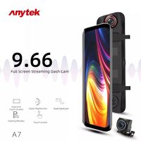 Anytek A7 Front 1080P and Rear 1080P Car DVR Voice Control Night Vision Dual Lens Streaming Rearview Mirror Driving Recorder