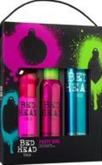 Tigi Bed Head Gift Sets Party Girl - After-Party This gift pack includes: After-Party Smoothing Cream 100ml, Headrush Shine Spray 200ml, Masterpiece Massive Shine Hairspray 300ml Whether its a bar, nightclub or house party, if you want your hair to http:/...