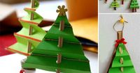 """Concertinacoloured paper to make trees. Hole-punch holes & thread a couple of sticks through & stick a sequin star at the top. Curl & glue wrapping paper round the bottom to make a 'stand' ("""",)"""