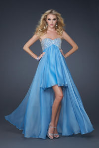 Strapless Sky-Blue High and Low Sparkly Prom Dresses for Cheap http://www.2014partydresssale.com/