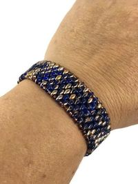 Gold and Sapphire Colored Bracelet - SuperDuo - Handmade Bracelet - Unique Bracelet - Beaded Bracelet For Women - Handmade $37.99