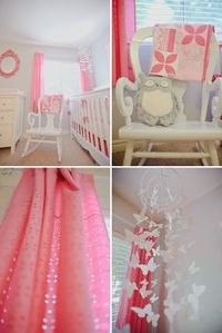 Cute girls room. DIY mobile. Would change curtains to floor length. Hate short curtains. Justpostup on sides for baby safety