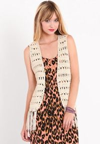 Crochet Comfort Fringe Vest #threadsence #fashion