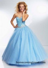 Beaded Sequin Strapless Ball Gown Prom Dresses 2015