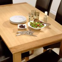 Mayfair Oak Set - Extending Table 6 Leather Chairs Stylish and versatile, the Mayfair Oak dining set is ideal for making the most of your space. The extending table is perfect for when you have extra guests for dinner, and the comfortable chairs means htt...