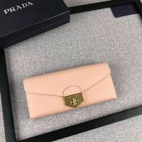 Prada 1M1037 Saffiano Leather Wallet In Apricot