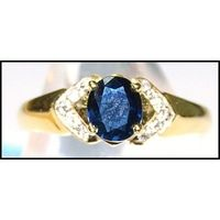 Blue Sapphire Solitaire Genuine 18K Yellow Gold Diamond Ring [RS0101]