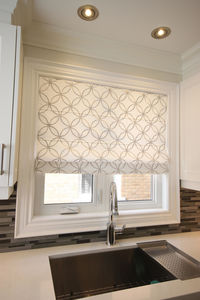 """Flat Roman Shade """"Metric Silver"""" with geometric embroidery pattern , linen roman shade, with chain mechanism, custom made window treatments $225.00"""