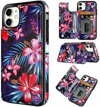 iPhone 11 Case 6.1 Inch Hawaiian Flowers Pattern Bauhinia Card Holder Wallet