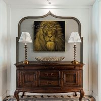 Original Lion canvas art painting on canvas art gold Animal paintings cuadros abstractos knife scrape painting Wall pictures Home Decor $168.00