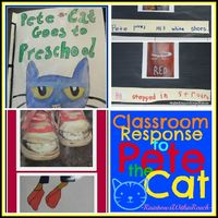 Pete the Cat activities for Preschool and Kindergarten. Create your own Pete the Cat class book. Computer drawn responses to Pete the Cat at RainbowsWithinReach