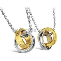 Gullei.com Hanging silver and gold rings girlfriend boyfriend necklaces 