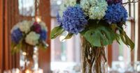 Hardly Housewives: Blue Hydrangea and Curly Willow Centerpieces - Head table