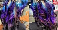 This is beautiful! blue, blonde, purple and black ombre hair