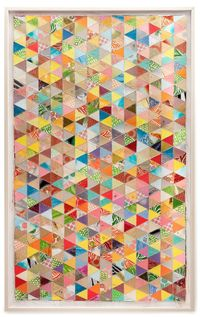 toryburch: M is for Mixed Media A quilt of packing envelopes, currency and decorative paper, from Thomas Campbell's new exhibition opening June 12 at Joshua Liner Gallery in New York. Larger Quilt, 2013 by T. Campbell, courtesy of Joshua Liner Galle...