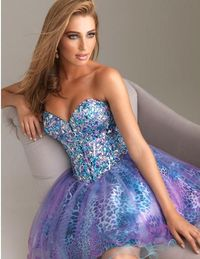 Short Print Beaded Corset Prom Dresses 2014