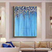 Gold Leaf Acrylic Painting On Canvas art extra Large painting Navy blue painting Wall Pictures original Floral home decor cuadros abstractos $123.75