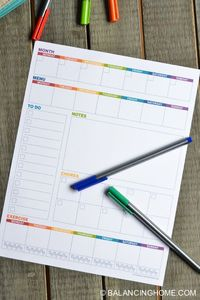 A weekly planner template printable to track: appointments, menu, to do, notes, chores & exercise for the week. Plan your week in less than 10 minutes!