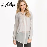 Oversized Vogue Sexy Seen Through Split Front Chiffon One Color Fall Casual 9/10 Sleeves Blouse - Bonny YZOZO Boutique Store