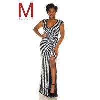 Mac Duggal Fabulouss 4368F Plus Size Stripe Sequin Gown - Brand Prom Dresses|Beaded Evening Dresses|Charming Party Dresses