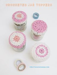 How to crochet simple jar lid covers - by Creative Jewish Mom