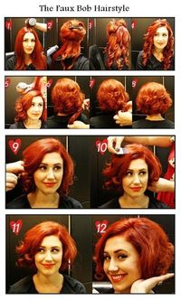 The Faux Bob Hairstyle | hairstyles tutorial. All the tutorials lose me at the most important part.. How to get the hair to stay pinned up in a curl to look shorter
