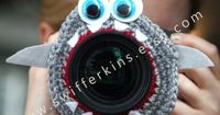 Camera lens buddy. Crochet lens critter Grey by Swifferkins, $12.99
