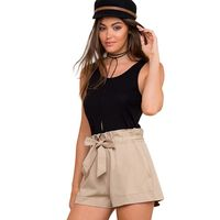 2018 Women Summer Shorts Solid Color High Waist Shorts With Belt Ladies Pocket khaki Shorts Suitable for Casual Beach Party $14.51