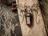 """The Pendant """"Songs of the Northern Peoples"""" . Amethyst with moonstone and branches of ancestral tree. Shamanic jewelry, Magic staff $67.00"""