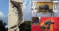 Chinese-born artist DALeast, 29, lives in Cape Town but spends six months of the year travelling the world tagging walls with his quirky designs (pictured is a