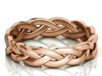 14K Rose Gold Braided Wedding band Unique Wedding Gif Promise Band Ring Gold Twisted Ring Rope Wedding Ring $570.00