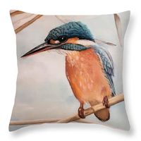 Kingfisher art pillow