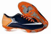 Nike Mercurial Vapor X FG Cleats Dark Blue Volt Orange