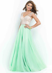 Fitted Sheer Cap Sleeves Dew Nude Beaded Deep V Back Prom Dress
