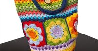 Colorful flower and striped crochet shoulder bag by TeresaNogueira, �'�50.00
