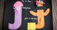 Alphabet Letter J craft - jellyfish and jack-in-the-box. (Link to printable letter templates).